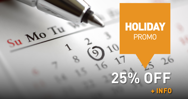 Holiday Promo (25% off )